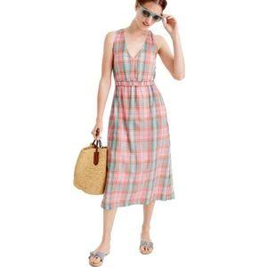 J. Crew | Plaid Cross Back Maxi Dress